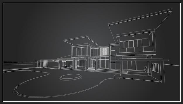 建物の3dワイヤーフレーム。スケッチデザイン。ベクトル