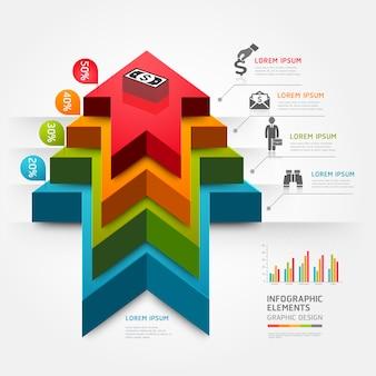 3d шаг вверх стрелка лестница диаграмма бизнес.