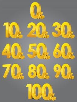 販売パーセントのセット。体積の光沢のある数字とパーセント記号のセット。 3dベクトル