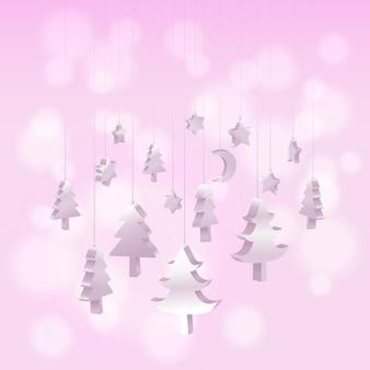 アイソメ3dクリスマスツリーの装飾は、ピンクの吊り