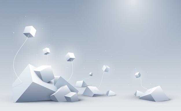 Абстрактная предпосылка кубов 3d, наука и предпосылка технологии,