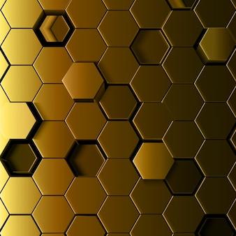3d抽象的な黄金の六角形の背景