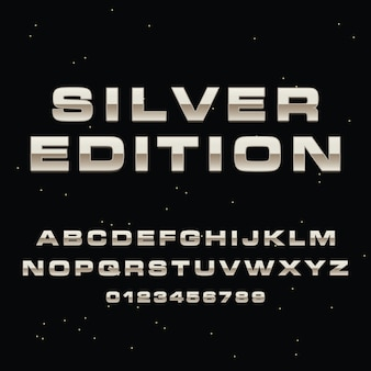 3d серебряные буквы алфавита премиум вектор