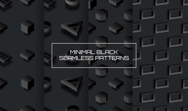 Набор минимального черного фона с геометрическими 3d фигурами