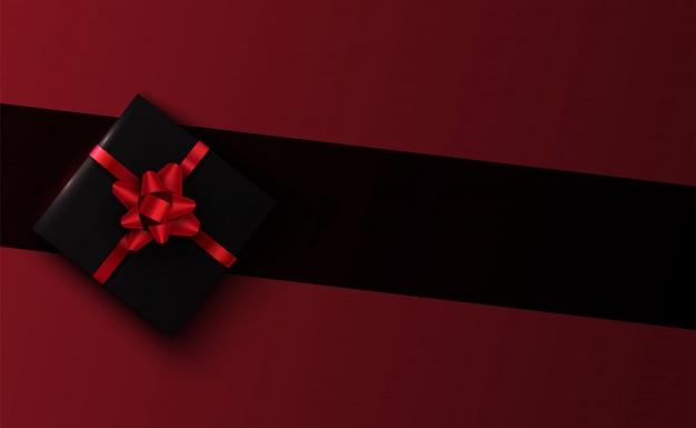 Вектор 3d черная подарочная коробка на фоне линии