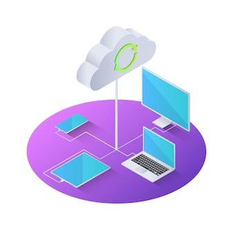 3d изометрическое электронное устройство, подключенное к облачным вычислениям