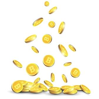 Золотые биткойны, пролетающие над белым фоном реалистичные 3d монеты со знаком криптовалюты