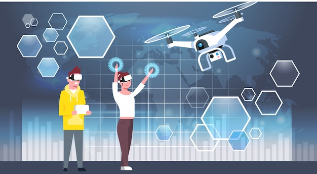 Мужчина и женщина в очках виртуальной реальности 3d с современным дроном