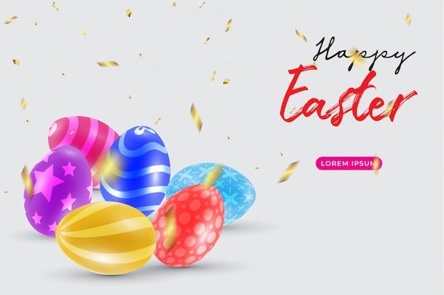 Счастливой пасхи с красивыми красочными 3d яйца и конфетти.