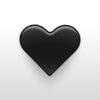 Векторная иллюстрация, 3d черное глянцевое сердце