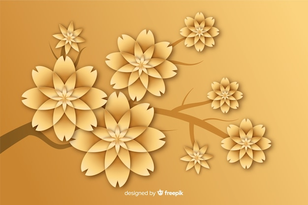 Золотой цветочный фон в 3d стиле