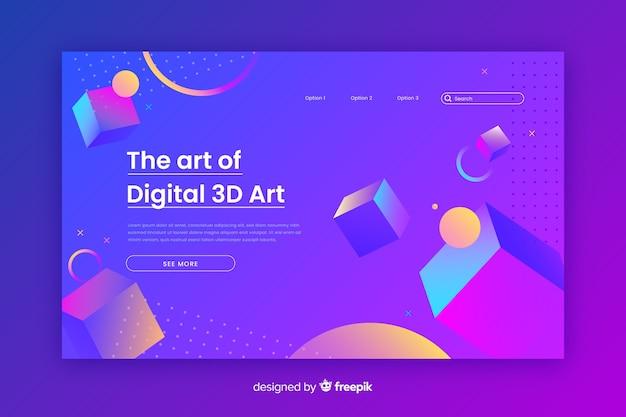 Искусство цифровой 3d целевой страницы