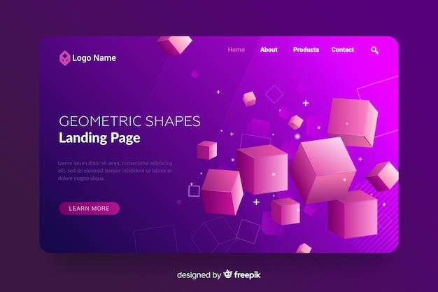 Целевая страница с 3d геометрическими фигурами