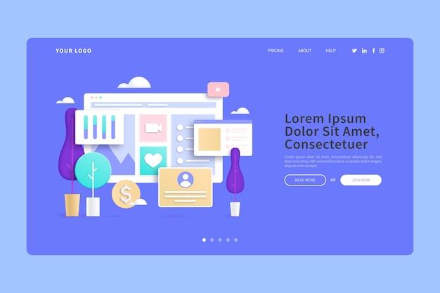 Интернет-покупки из дома 3d концепции целевой страницы