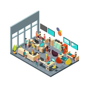 Расслабленные творческие люди, встречающиеся в интерьере комнаты. 3d изометрические коворкинг и коллективная работа векторный концепт