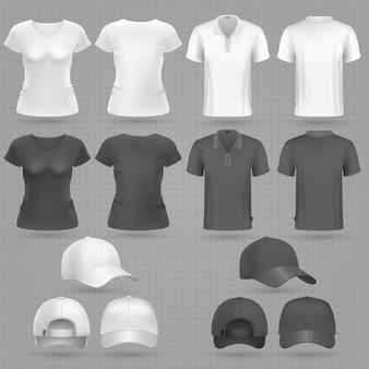 Мужские и женские черные белые футболки и бейсболки вектор 3d