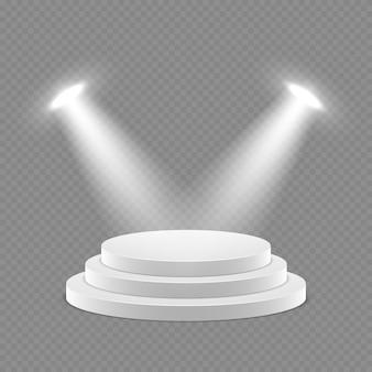 Вектор 3d постамент с прожекторами изолированный объект
