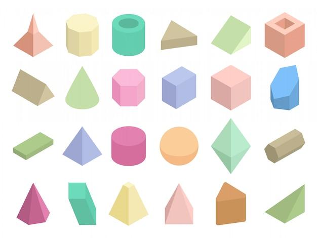 Изометрическая 3d геометрические цветные фигуры векторный набор