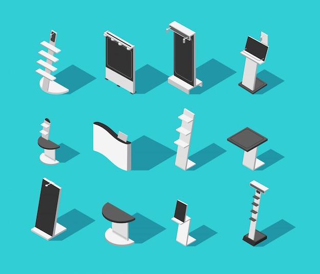 Изометрическая 3d демонстрационный стенд стенды для выставки изолированных векторный набор