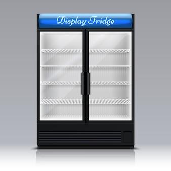 Пустой морозильник для напитков со стеклянной дверью. супермаркет еда холодильник 3d векторные иллюстрации. морозильник и холодильник для напитков, супермаркет