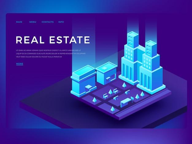 Веб-шаблон целевой страницы для дизайна веб-сайта недвижимости с 3d изометрическими зданиями