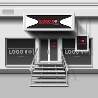 Магазин экстерьера шаблона. 3d витрина с входной дверью