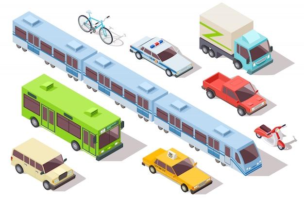 Изометрические городской общественный транспорт. поезд метро, автобус, скорая помощь, такси и полицейская машина, грузовик, мотоцикл, велосипед. комплект 3d автомобилей