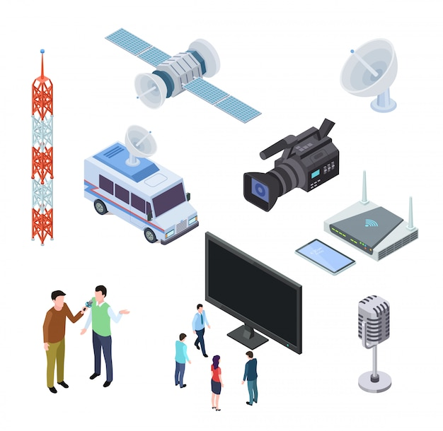 Вещательное оборудование. телевизионная потоковая электроника. телевизионная антенна, спутник и видеокамера. телекоммуникации 3d изометрические иконки