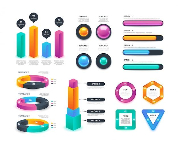 ビジネスのインフォグラフィック。ワークフローチャート、円形図、年次マーケティングレポート。 3dベクトルコレクション