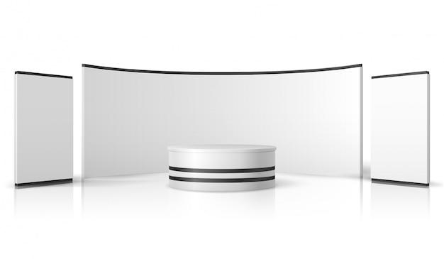 Пустой стенд выставки. белый пустой выставочный стенд, розничный рекламный дисплей вектор 3d макет