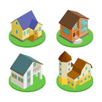 3d изометрические жилые дома значок вектора набора