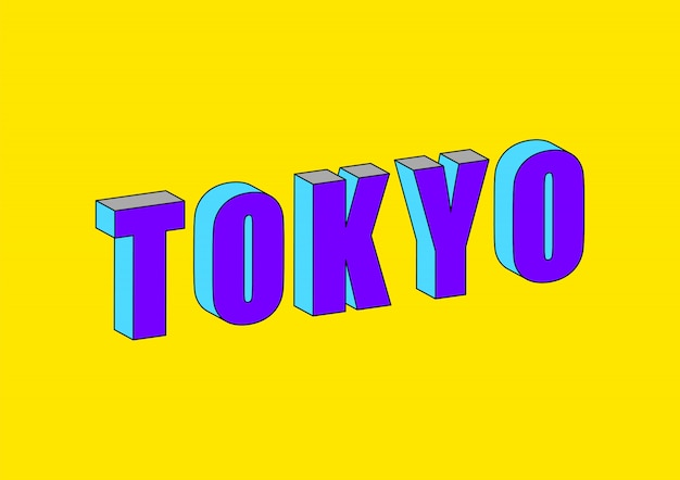 Токийский текст с 3d изометрическим эффектом