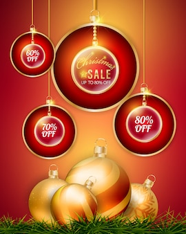 セールプロモーションバナーをぶら下がっている3dクリスマスのボール。