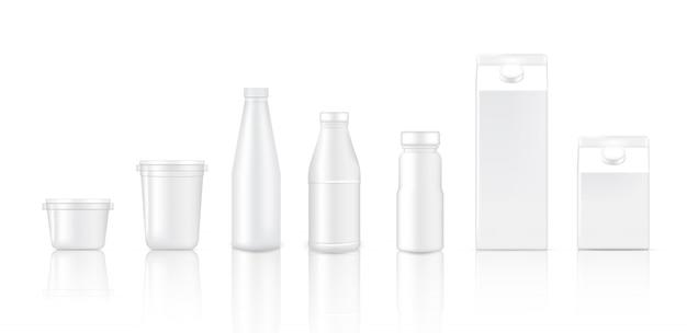 3dモックアップ現実的なボトルカップと牛乳包装用ボックス