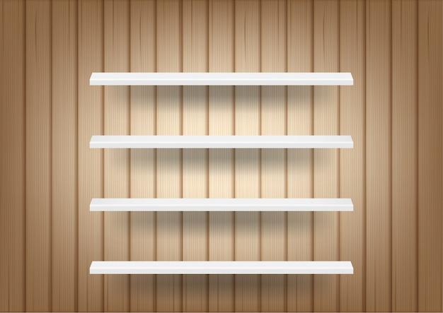 3d-макет реалистичного дерева фона и пустой полки для интерьера, чтобы показать продукт