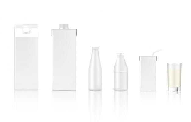 現実的なミルクカートンパックボックスとガラス食品と飲み物のパッケージングのための3dモックアップ