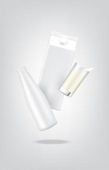 3d макет реалистичной бутылки молока