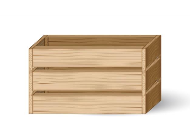 3dモックアップ現実的な木製の箱や箱製品の包装