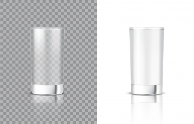食べ物や飲み物のためのリアルな牛乳透明ガラスの3dモックアップ