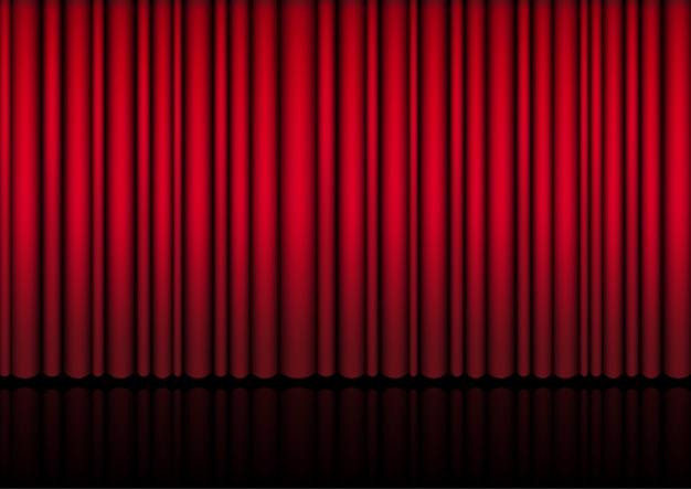 ステージ上のリアルな赤いカーテンの3dモックアップ