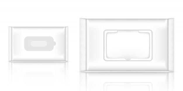 リアルなウェットワイプフォイルサシェ包装の3dモックアップ