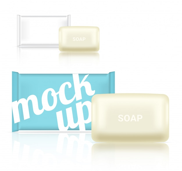 リアルなソープバー化粧品包装3dモックアップ