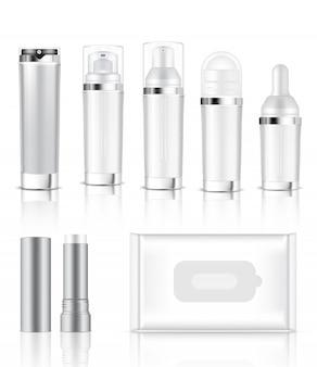 リアルな透明ボトルとサシェの3dモックアップ
