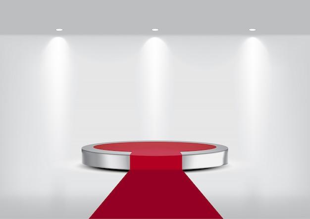 3dはショーのための現実的な金属のカーペットの段階の表彰台を模擬します