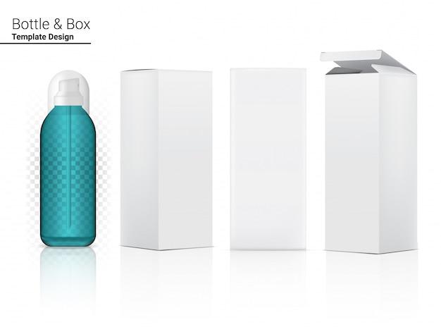 Глянцевая прозрачная бутылка-спрей бланк реалистичная косметика и 3d-коробка для отбеливания кожи и антивозрастного старения.