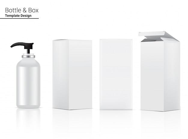Глянцевая пробирка для бутылочек реалистичная косметическая и 3d коробка для ухода за кожей и против старения.