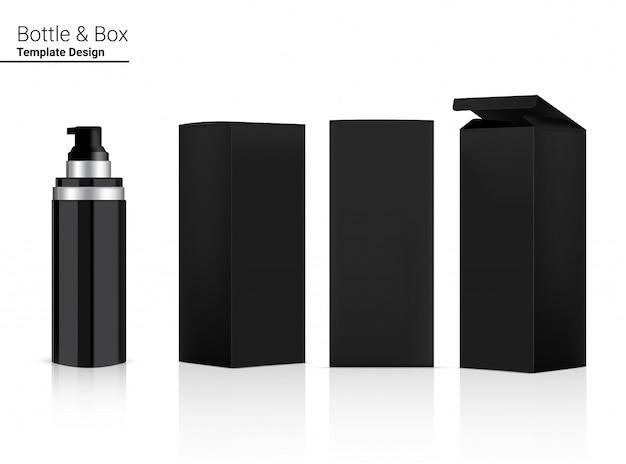 Глянцевая пустая бутылка-флакон с реалистичной косметикой и 3d-коробкой для отбеливания кожи и антивозрастной упаковки.