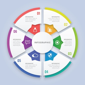 3d круг шаблон инфографики с шестью параметрами для разметки рабочего процесса, схема, годовой отчет, веб-дизайн