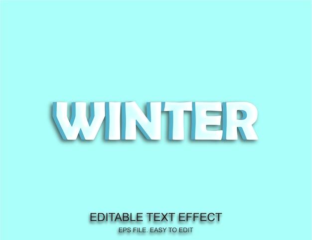 Голубое небо зимний текстовый эффект 3d стиль