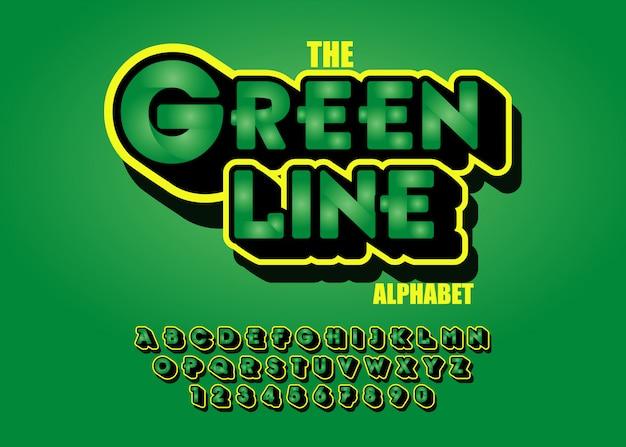 Современный зеленый шрифт эффекты 3d. буквы алфавита